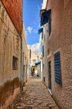 Narrow street of ancient Medina, Hammamet, Tunisia, Mediterranea Royalty Free Stock Image