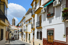 Narrow street of the ancient Spanish town Cabra Royalty Free Stock Photo