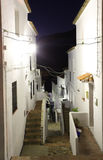 Narrow street in Andalusian village. Casares at night, Spain Royalty Free Stock Image