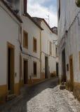 Narrow street architecture with cobblestones in Evora, Portugal. Narrow street with cobblestones in Evora, Portugal Stock Photography
