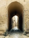Narrow street. Archway and narrow medieval street in Mdina, Malta Royalty Free Stock Photos