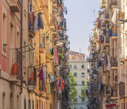 Narrow street with balconies in Spain Royalty Free Stock Image