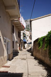 Narrow street in Balkan town Stock Images