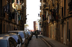 Narrow street in Barcelona Stock Photos