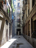 Narrow street in Barcelona Stock Photo