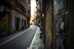Narrow street of Barcelona stock image