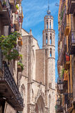 Narrow street in Barcelona Stock Image