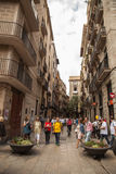 Narrow street in Barcelona royalty free stock photos