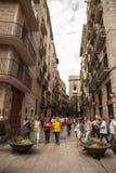 Narrow street in Barcelona Royalty Free Stock Photos