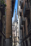 Narrow Street in Barcelona, Spain Royalty Free Stock Images