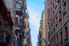 Narrow street in barcelona. stock images