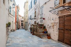 A narrow street at Bastia, in the old medieval city of Citadel,. A popular destination for travel in Europe, France, Corsica royalty free stock photography