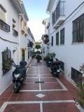 Narrow street in the Benalmadena Pueblo, Malaga, Spain Stock Photos