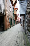 Narrow street of bergen Stock Images