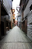 Narrow street of bergen Royalty Free Stock Photo