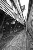Narrow street of Bergen stock photography