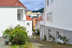 Narrow street of Bergen, Norway Royalty Free Stock Photo