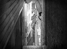 Narrow street in Bergen Norway Stock Photography