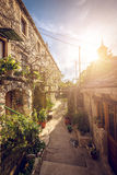 Narrow street of Blato village in Croatia Royalty Free Stock Photos