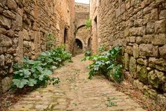 A narrow street in Bruniquel, a small medieval city in Southern Stock Photos