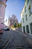 Narrow street in Brzeg, Poland Royalty Free Stock Images