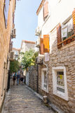Narrow street in Budva, Montenegro Stock Photography