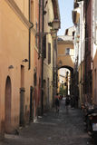 Narrow street in the Campo dei Fiori district, Rome Royalty Free Stock Images