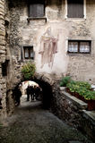Narrow street in Canale di Tenno Royalty Free Stock Photo