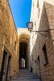 Narrow street in Castel dell`Ovo in Naples stock photos