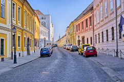 Narrow street on Castle Hill in Budapest, Hungary Royalty Free Stock Photos