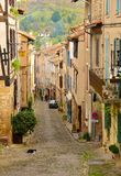 A narrow street with a cat in Cordes sur Ciel, a small medieval stock photography