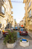 The narrow street in the center of Bourgas, Bulgaria royalty free stock photo