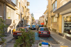 The narrow street in the center of Bulgarian Bourgas stock photo