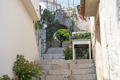 Narrow street in the center of the Croatian city. royalty free stock images
