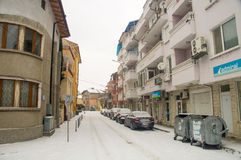 The narrow street in the center of Pomorie, Bulgaria, winter stock photos