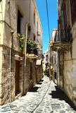 Narrow street of Chania city Royalty Free Stock Photo