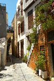 Narrow street of Chania city Stock Photo