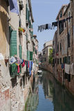 The narrow street - channel in Venice Stock Images