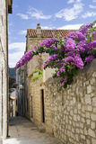 Narrow street in the city of Rab royalty free stock images