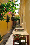 Narrow street in city of Rethymno Stock Photography