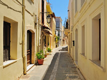 Narrow street in city of Rethymno, Crete Royalty Free Stock Photography