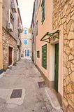Narrow street in city Vodice. Royalty Free Stock Photo