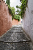 Narrow street. Narrow and cobbled street in city Royalty Free Stock Images