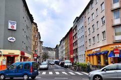 Narrow street in Cologne Germany Royalty Free Stock Photography