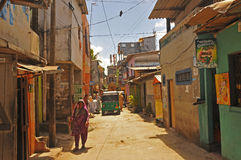 Narrow street in Colombo (Sri Lanka) Royalty Free Stock Images