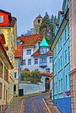 Narrow street with colorful buildings in Lucerne Royalty Free Stock Image