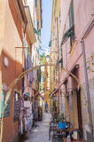 Narrow street with Colorful houses in Monterosso al Mare Stock Image