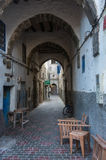 Narrow street and colorful old houses of medieval medina of Essa Stock Photos