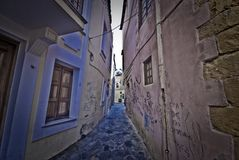Narrow street on Crete Stock Photos
