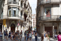 Narrow street that crosses Rambla Stock Images